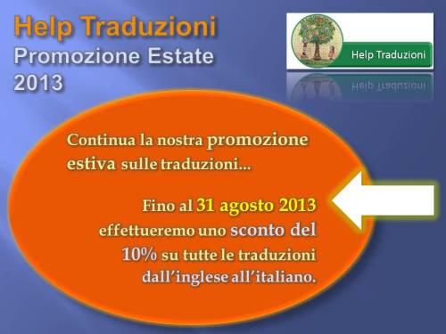 Help Traduzioni Promozione Estate 2013